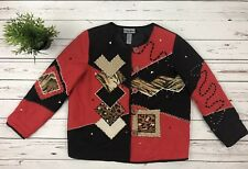 Indigo Moon Womens Jacket Coat Black/Red Patchwork Native American Sz Large L