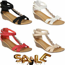 LADIES WEDGE SANDALS WOMENS HEELS STRAPPY SUMMER DRESS PARTY EVENING BEACH SHOES