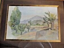 Ancien Cadre peinture aquarelle signée paysage et Mât de Provence Olivier