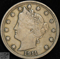 1911 Liberty Nickel, V Nickel, Very Fine+ Condition, Free Shipping in USA, C4938