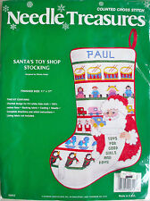 New Cross Stitch Christmas Stocking Kit Vintage Santa Toy Shop Needle Treasures