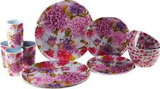 Floral Flowers 16 Piece Melamine Plastic Plate Cups Bowl Set - Purples
