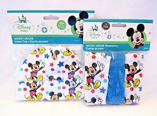 Mickey Mouse Disney Baby Set Infant Cap With Matching 3 Pack Washcloths