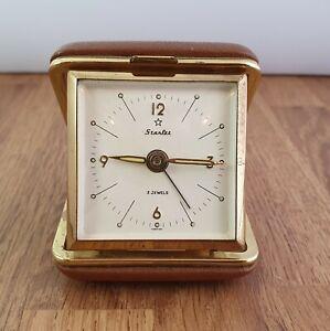 Vintage Starlet Folding Wind Up 2 Jewels Brass Travel Alarm Clock.