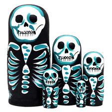 IG_ 5Pcs Skeleton Wooden Russia Nesting Doll Figurine Matryoshka Kids Toy Novelt