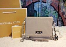 NWT MICHAEL KORS CORINNE XS Messenger/Crossbody Leather Bag PEARL GREY $198