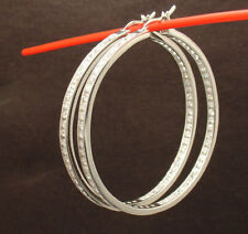 "2"" Inside Out Diamonique CZ Hoop Earrings Anti-Tarnish 925 Sterling Silver QVC"