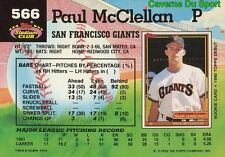 566  PAUL MCCLELLAN  SAN FRANCISCO GIANTS TOPPS BASEBALL CARD STADIUM CLUB 1992