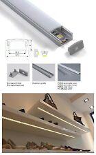 Profilo Alluminio 1MT per striscie Strip LED Barra rigida+coperchio opaco 1042