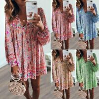Women's Boho Sexy V-neck Floral Dresses Ladies Summer Holiday Beach Short Dress