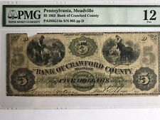 VINTAGE pmg 12 $5 1863 BANK OF CRAWFORD COUNTY MEADVILLE PA PENNSYLVANIA FIVE