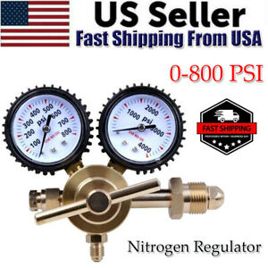 Nitrogen Regulator 0-800 PSI Pressure Equipment Brass Inlet Connection Gauges US
