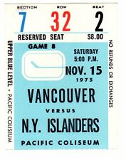 1X VANCOUVER CANUCKS Ticket Stub vs NY ISLANDERS Nov 15th 1975 RARE