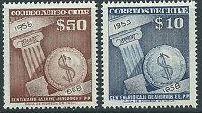 CHILE 1958 100 years Caja de Ahorros 10 & 50 pesos Sc.304 & C195 MNH