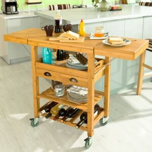 SoBuy® Kitchen Storage Trolley Cart with Folding Worktop,Bamboo,FKW25-N, UK