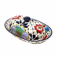 Handmade Pottery Butter Dish, Dots & Flowers Encantada