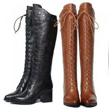 Winter Leather Womens Block Heel Poiny Toe Rivet Lace Up Zip Knee High Boots US8