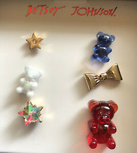 Betsey Johnson 6 Piece Red, White And Blue Gummy Bear Stud Earring Set NIB