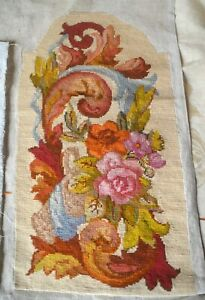 Antique French needlepoint tapestry chair cover