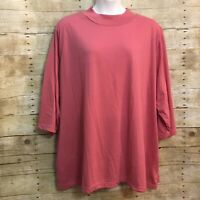 Roamans 5X Top Pink Mock Turtleneck Long Sleeve Knit Pullover Casual Comfortable