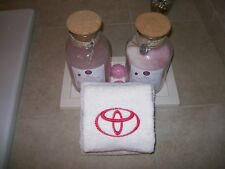 Embroidered  Bath or Gym White Hand Towels car logo Toyota -Fathers day gift