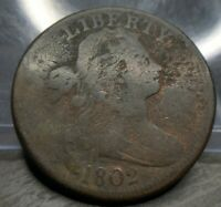 1802 Draped Bust Large Cent Penny Fine F Details Bent EAC Affordable Example