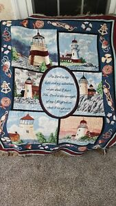 Lighthouses Throw Blanket USA Crown Crafts  Ocean sea Nautical 44 X 56
