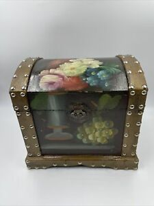 Vintage Wooden Chest Box Trunk with Metal Handles & Hand-Painted Floral Design