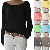 Women Long Sleeve Baggy T-Shirt Boat Neck Casual Loose Top Shirts Tee Plus Size