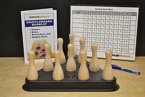 SHUFFLEBOARD TABLE BOWLING BROWN PINS + REGULATION PINSETTER +CHART+ BAG + RULES