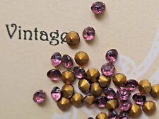 #633L Vintage Chatons 3mm Amethyst Gold Foil Rhinestones NOS Czech Fire Polished