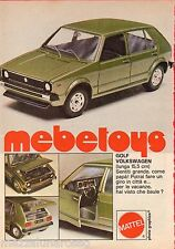 Pubblicità Advertising 1978 MEBETOYS Wolksvagen Golf