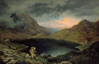 Oil painting Gustav Carl Ludwig Richter - pool in the riesengebirge landscape