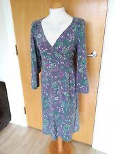 Ladies MANTARAY Dress Size 14 Grey Purple Stretch Smart Casual Day