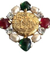 RARE VINTAGE CHANEL '93A GRIPOIX GLASS PEARL CRYSTAL BROOCH