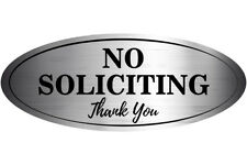 """''NO SOLICITING Thank You'' Sticker Sign, (2 Pack) Oval 6"""" X 2.5 inches"""