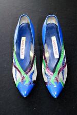 Scarpe vintage da donna blu in pelle