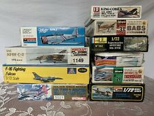 Lot Of 10 Vintage Models ~ Military Fighter Jet Plane Aircraft Kits