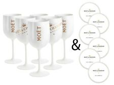 More details for moet & chandon 6 white ice imperial acrylic champagne glasses w/ paper coasters