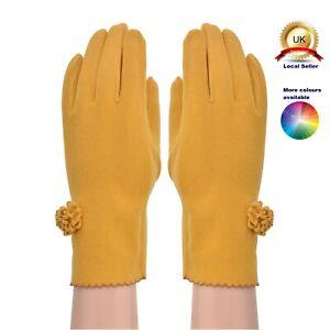 One size Boutique Thin Gloves Small Flower Plain Woman Seasons Cotton Blend