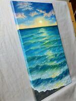 """Art,18""""/9""""oil painting, seascape, landscape,ocean, sunset on the ocean"""