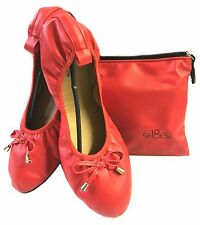 Shoes 18 Women's Foldable Ballet Flat Shoes w/ Matching Zipper Carrying Case