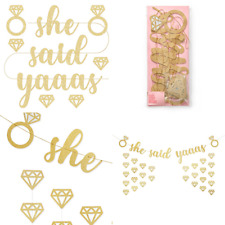 SHE SAID YAAAS YES BLING GLITTER BANNER BUNTING WEDDING HENS PARTY ENGAGEMENT