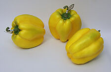 3 Designer Artificial Faux Fake Artificial Yellow Bell Pepper Vegetable
