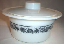 Rare Corning Pyrex OLD TOWN BLUE Onion Margarine Tub with Plastic Lid: EXC: NR