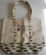 "LARGE FISHING CANVAS Beach/Lake Tote Bag EMBROIDERED  18"" X 16"" X 7"""