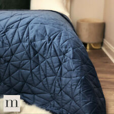 Luxury Velvet  Navy Blue Geometric Quilted Bedspread Double / King Size Modern
