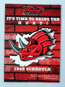 Grand Rapids Rampage Inaugural Season 1998 Schedule Arena Football