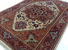 """2'.0"""" X 3'.0"""" Ivory Rust Serapi Persian Oriental Area Rug Hand Knotted Wool"""