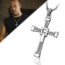 WOMEN MEN 18K White Gold GP CROSS With Swarovski Crystal Pendant Necklace